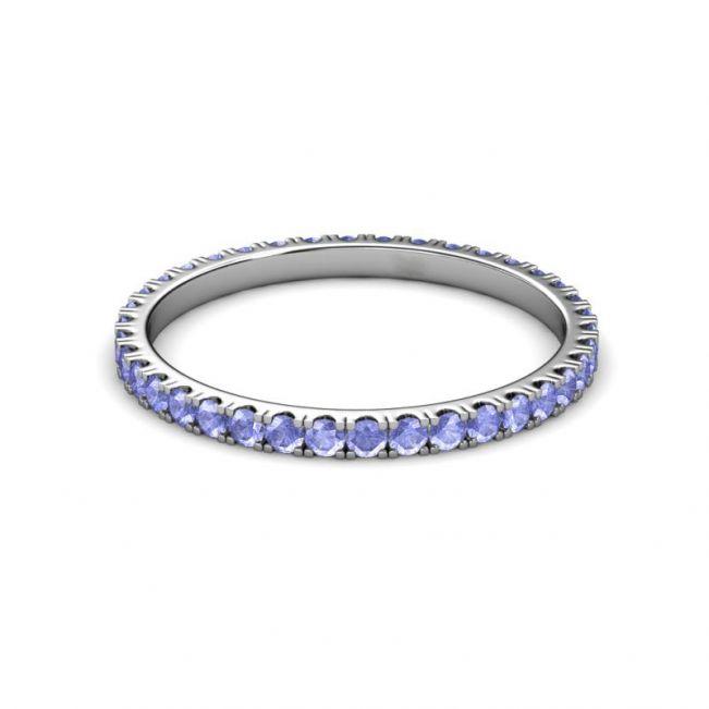 Тонкое кольцо дорожка из танзанитов - Фото 4