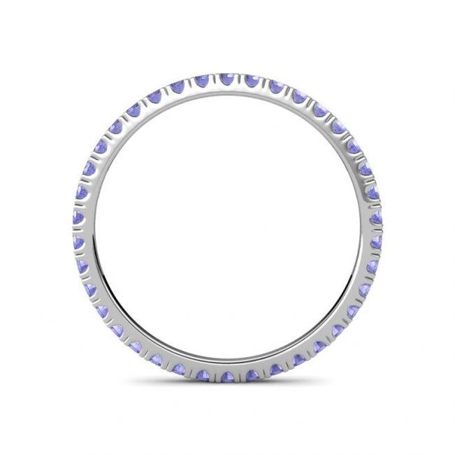 Тонкое кольцо дорожка из танзанитов - Фото 1