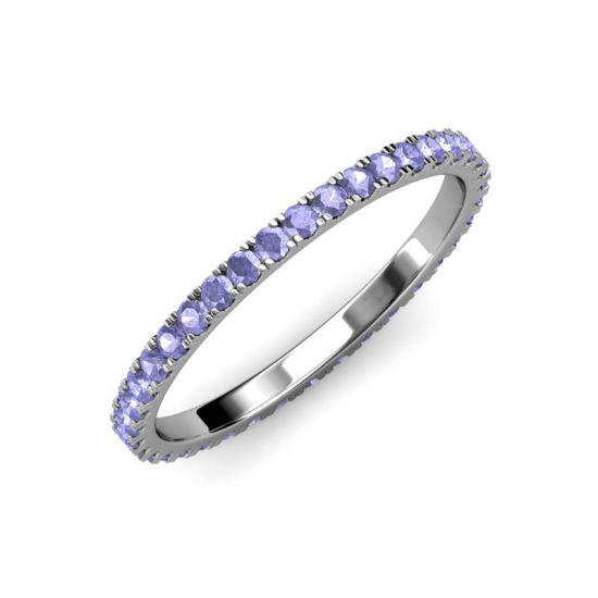 Тонкое кольцо дорожка из танзанитов,  Больше Изображение 4
