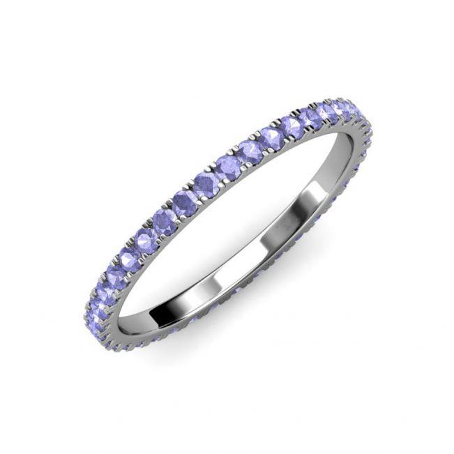 Тонкое кольцо дорожка из танзанитов - Фото 3
