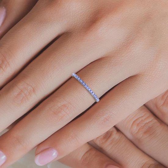 Тонкое кольцо дорожка из танзанитов,  Больше Изображение 3
