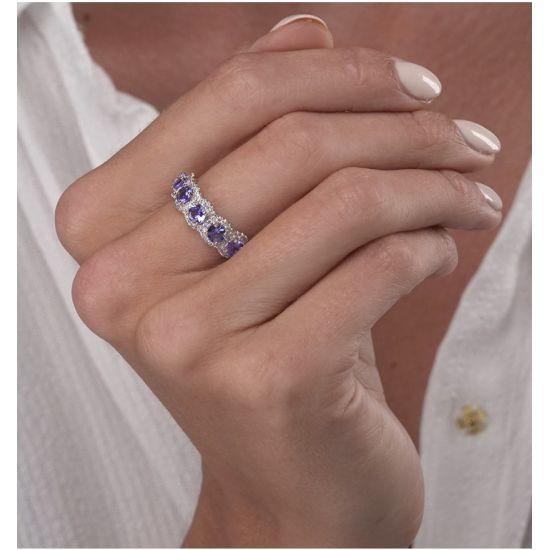 Кольцо с 5 танзанитами,  Больше Изображение 3