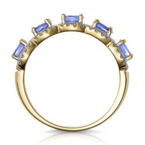 Кольцо дорожка с 5 танзанитами из желтого золота