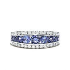 Широкое кольцо дорожка из танзанитов и бриллиантов