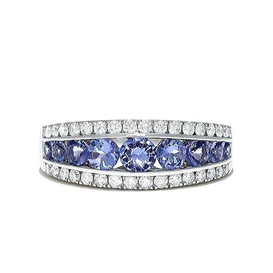 Широкое кольцо дорожка из танзанитов и бриллиантов, Больше Изображение 1