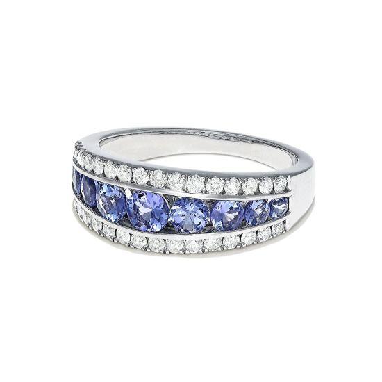 Широкое кольцо дорожка из танзанитов и бриллиантов,  Больше Изображение 2