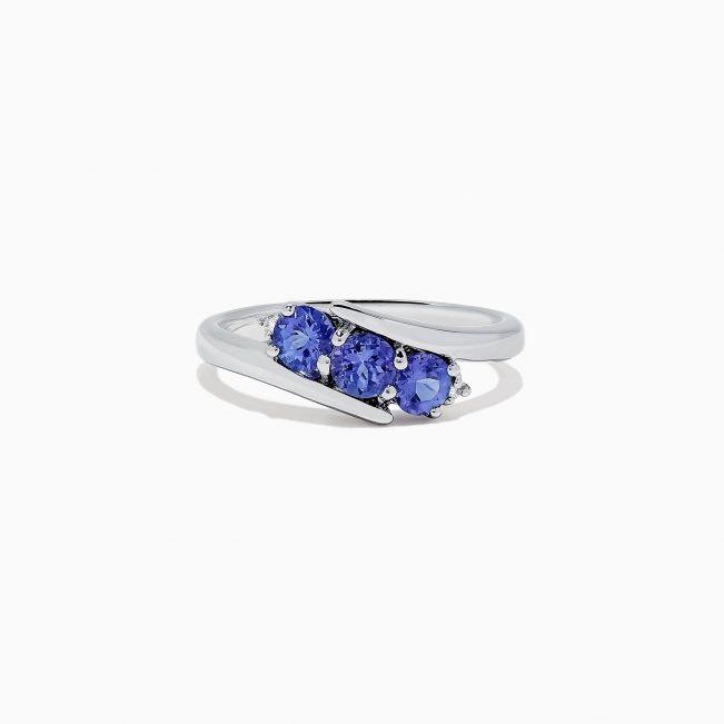 Кольцо дорожка с танзанитами и мелкими бриллиантами