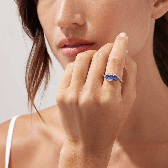 Кольцо дорожка с 3 танзанитами и бриллиантами,  Больше Изображение 2