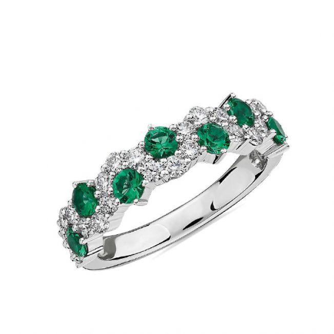 Дизайнерское кольцо дорожка с изумрудами и бриллиантами