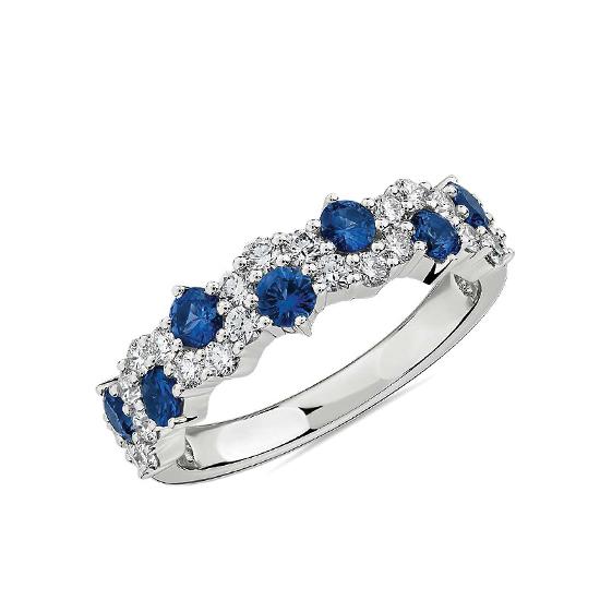 Дизайнерское кольцо дорожка с сапфирами и бриллиантами, Больше Изображение 1