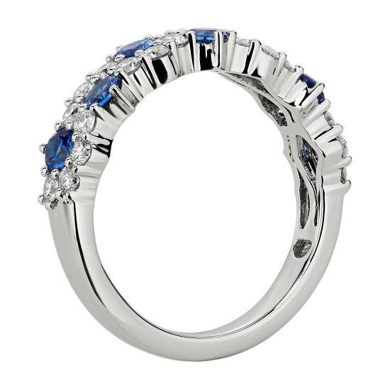 Дизайнерское кольцо дорожка с сапфирами и бриллиантами,  Больше Изображение 2
