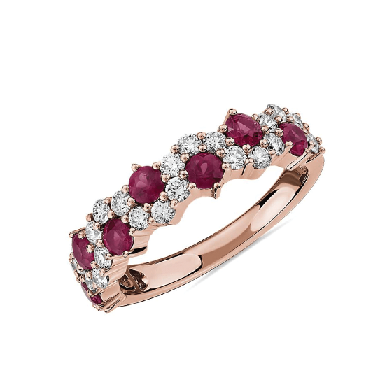 Дизайнерское кольцо с рубинами и бриллиантами, Больше Изображение 1