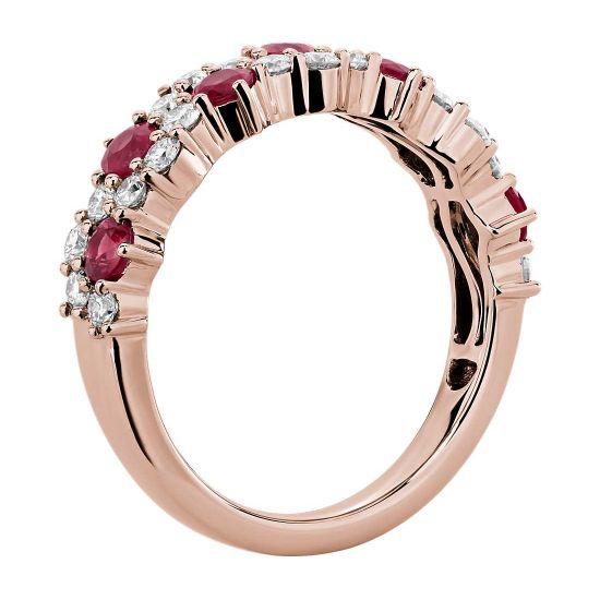 Дизайнерское кольцо с рубинами и бриллиантами,  Больше Изображение 2