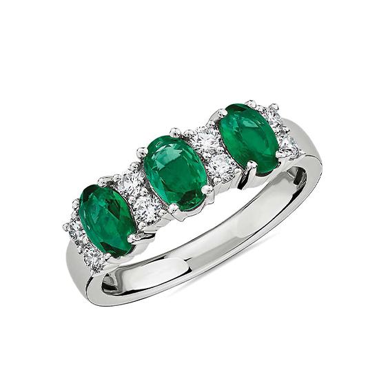 Кольцо дорожка с 3 изумрудами и бриллиантами, Больше Изображение 1