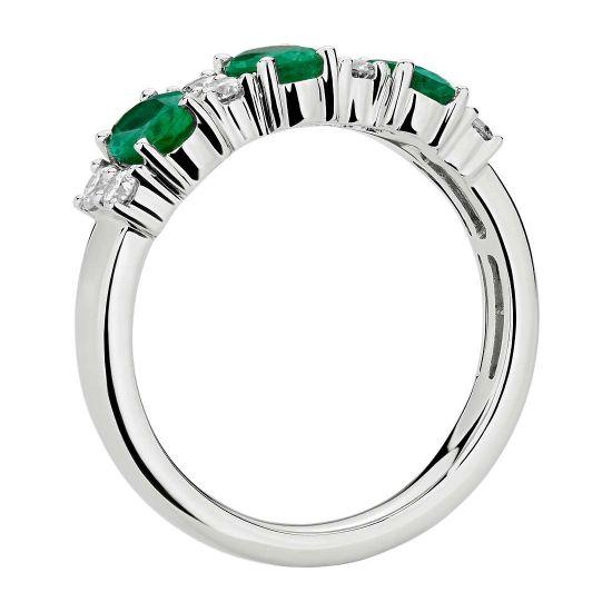 Кольцо дорожка с 3 изумрудами и бриллиантами,  Больше Изображение 2
