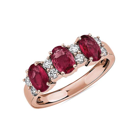Кольцо дорожка с 3 рубинами и бриллиантами, Больше Изображение 1