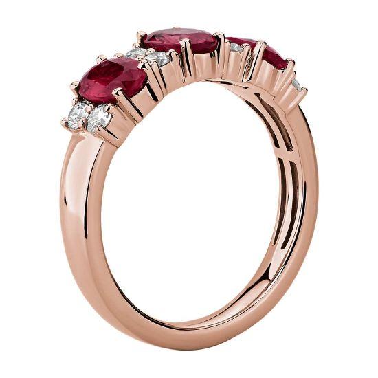 Кольцо дорожка с 3 рубинами и бриллиантами,  Больше Изображение 2