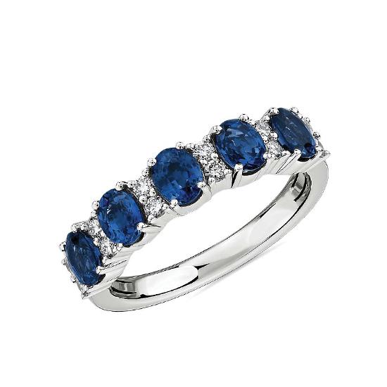 Кольцо дорожка с овальными сапфирами и бриллиантами, Больше Изображение 1