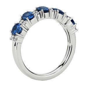 Кольцо дорожка с овальными сапфирами и бриллиантами