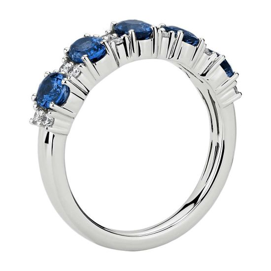 Кольцо дорожка с овальными сапфирами и бриллиантами,  Больше Изображение 2