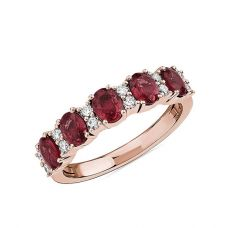 Кольцо дорожка с 5 рубинами и бриллиантами