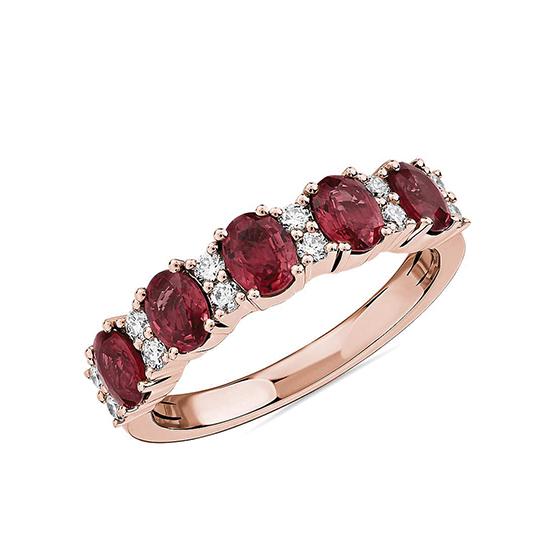 Кольцо дорожка с 5 рубинами и бриллиантами, Больше Изображение 1