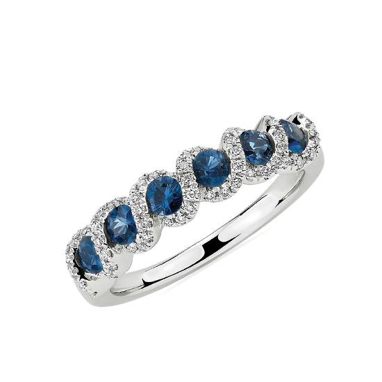 Кольцо с сапфирами и бриллиантами, Больше Изображение 1