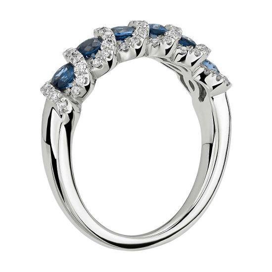 Кольцо с сапфирами и бриллиантами,  Больше Изображение 2