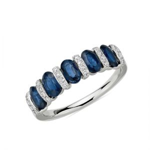 Кольцо дорожка с 5 сапфирами и бриллиантами