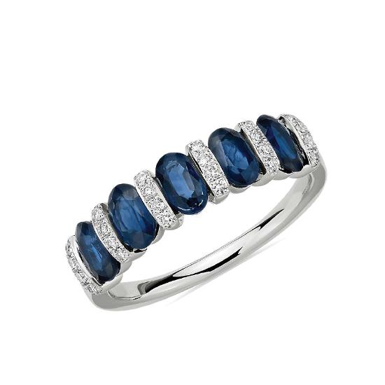 Кольцо дорожка с 5 сапфирами и бриллиантами, Больше Изображение 1