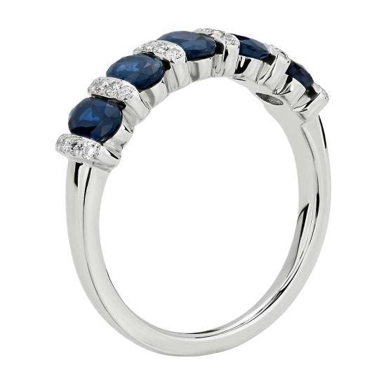Кольцо дорожка с 5 сапфирами и бриллиантами,  Больше Изображение 2