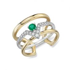 Тройное кольцо с изумрудом и бриллиантами