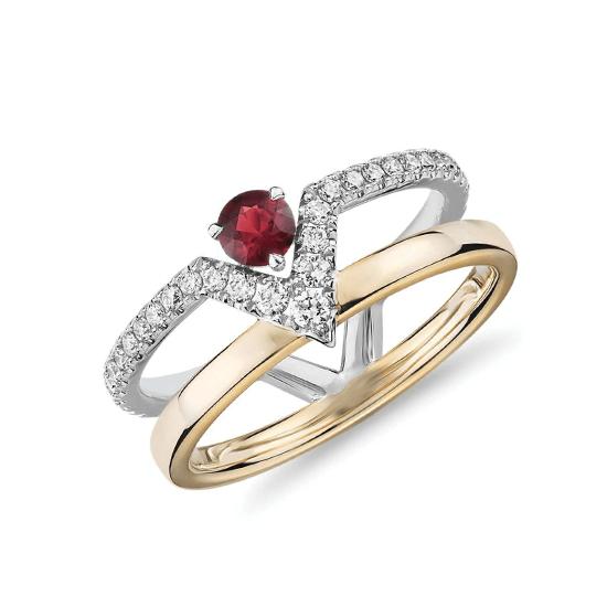 Двойное кольцо с рубином и бриллиантами, Больше Изображение 1