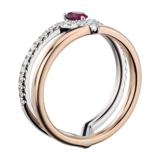 Двойное кольцо с рубином и бриллиантами,  Больше Изображение 2
