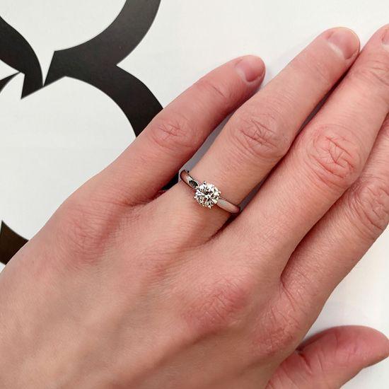 Классическое кольцо с 1 бриллиантом на помолвку,  Больше Изображение 5