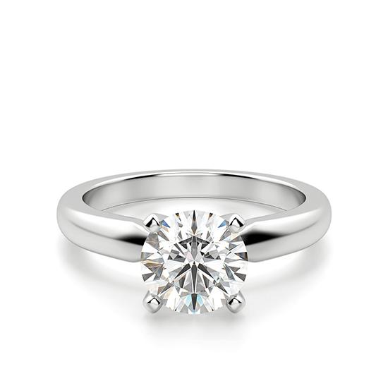 Классическое кольцо с 1 бриллиантом на помолвку, Больше Изображение 1
