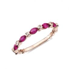 Кольцо дорожка с рубинами маркиз и бриллиантами