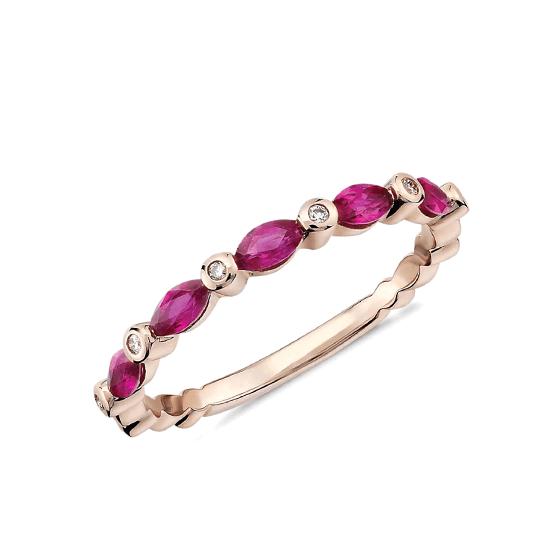Кольцо дорожка с рубинами маркиз и бриллиантами, Больше Изображение 1