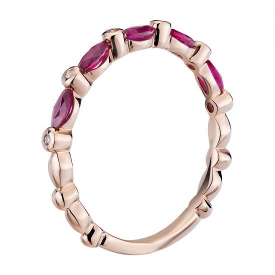 Кольцо дорожка с рубинами маркиз и бриллиантами,  Больше Изображение 2