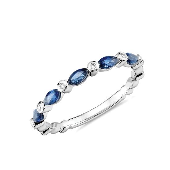 Кольцо дорожка с сапфирами маркиз и бриллиантами, Больше Изображение 1
