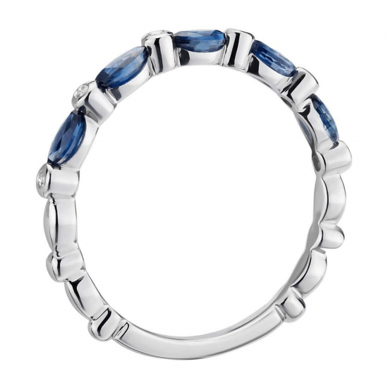 Кольцо дорожка с сапфирами маркиз и бриллиантами,  Больше Изображение 2