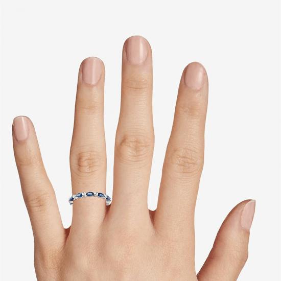 Кольцо дорожка с сапфирами маркиз и бриллиантами,  Больше Изображение 3
