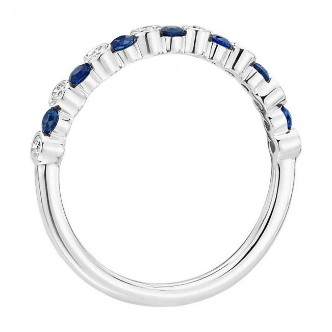 Кольцо дорожка чередованием сапфиров и бриллиантов