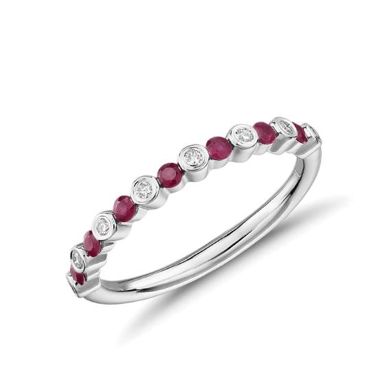 Кольцо дорожка с рубинами и бриллиантами, Больше Изображение 1