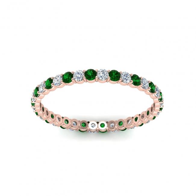 Кольцо дорожка тонкое с изумрудами и бриллиантами