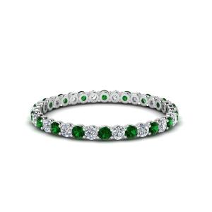 Кольцо тонкая дорожка с изумрудами и бриллиантами