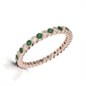 Кольцо дорожка с изумрудами и бриллиантами