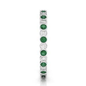 Кольцо дорожка с изумрудами и бриллиантами 2 мм