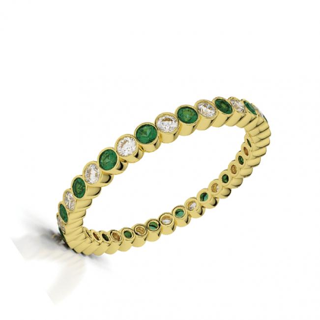 Кольцо дорожка золотая с изумрудами и бриллиантами