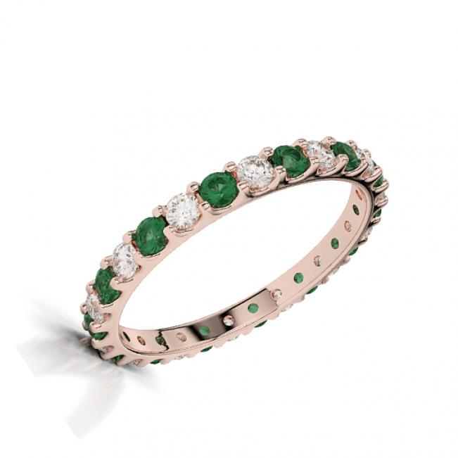 Кольцо дорожка с изумрудами и белыми бриллиантами